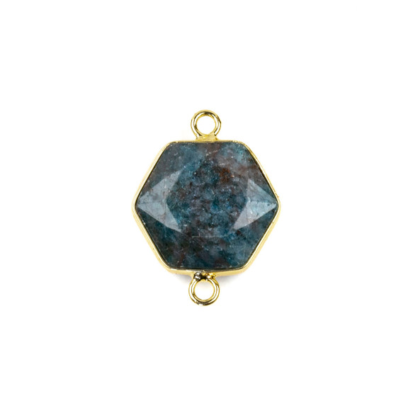 Apatite 17x22mm Hexagon Link with a Brass Plated Base Metal Bezel- 1 per bag