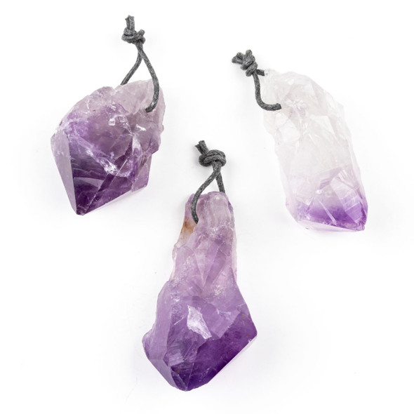 Natural Amethyst Large 20-34x44-66mm Top Drilled Nugget Pendant - 1 per bag