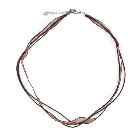 """2 Strand Waxed Cord and Ribbon Necklace - Brown, 1mm Cord, 10mm Ribbon, 16-18"""" with Silver Plated Copper Adjustable Clasp"""