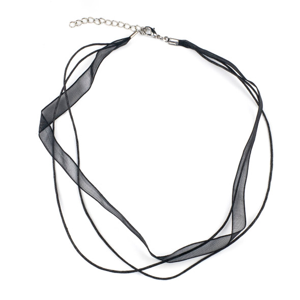 """2 Strand Waxed Cord and Ribbon Necklace - Black, 1mm Cord, 10mm Ribbon, 16-18"""" with Silver Plated Copper Adjustable Clasp"""