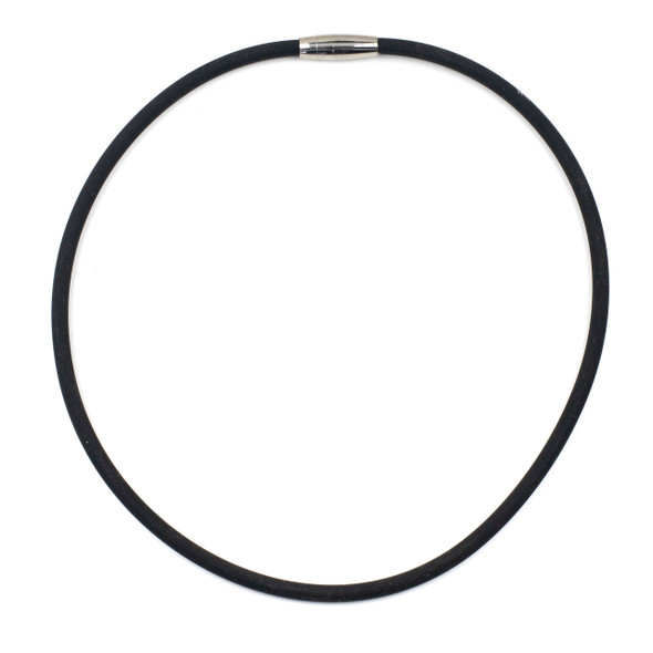 """Round Rubber Cord Necklace - Black, 5mm, 20"""" with Stainless Steel Magnetic Clasp"""