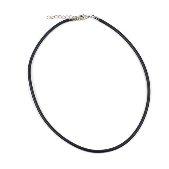"""Round Rubber Cord Necklace - Black, 3mm, 16-18"""" with Stainless Steel Adjustable Clasp"""