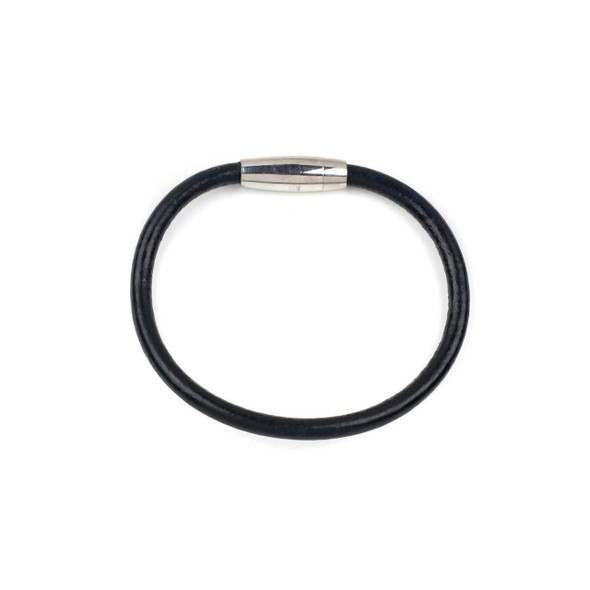 Round Leather Bracelet - Black, 5mm, 8 inch, Stainless Steel Magnetic Clasp