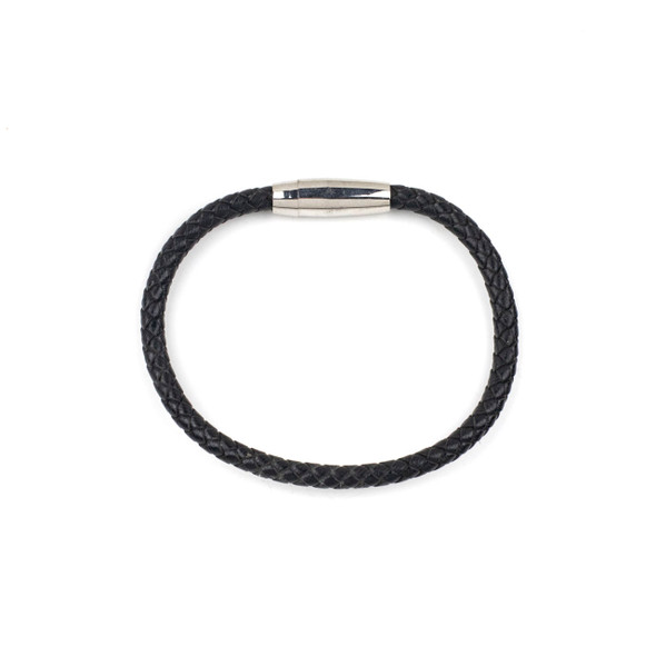 Braided Leather Bracelet - Black, 5mm, 8 inch, Stainless Steel Magnetic Clasp