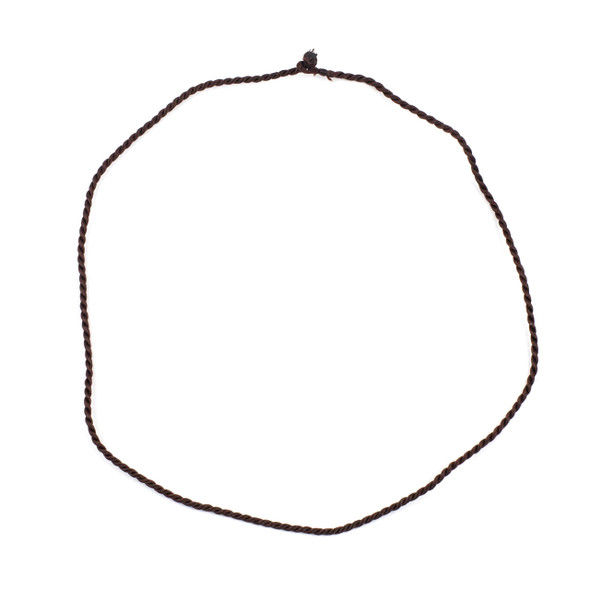 """Braided Satin Nylon Cord Necklace - Brown, 2mm Cord, 18"""" with Knot Closure"""