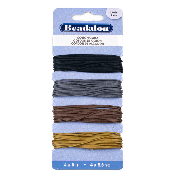 Cotton Cord Variety Pack - 1mm, 4 colors, 5 meters of each