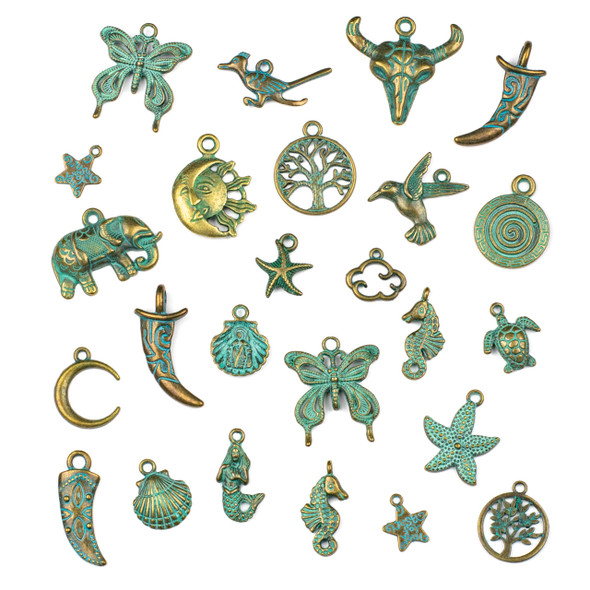 An Assorted Mix of 25 Green Bronze Charms