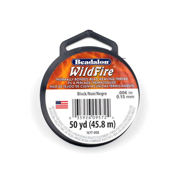 WildFire Bead Weaving Thread - .006, Black, 50 yards