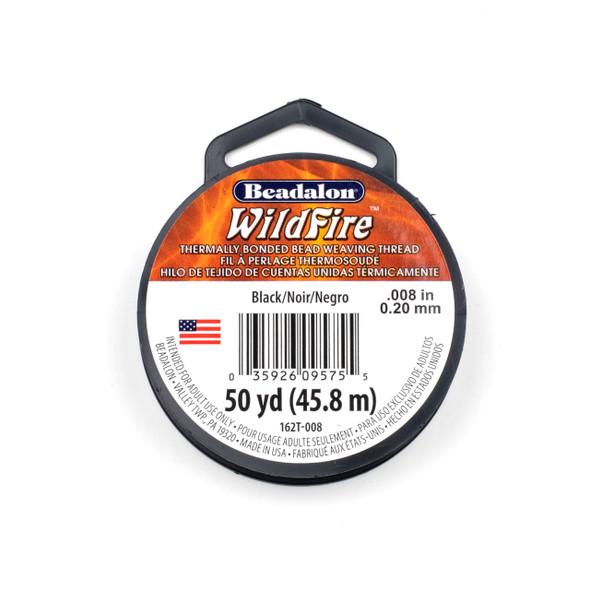 WildFire Bead Weaving Thread - .008, Black, 50 yards