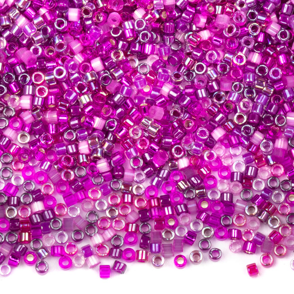 Miyuki 11/0 Fuchsia Blossoms Mix Delica Seed Beads - #MIX9078, 7.2 gram tube