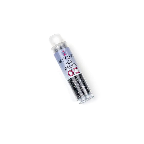 Miyuki 11/0 Gunmetal Mix Delica Seed Beads - #001, 7.2 gram tube