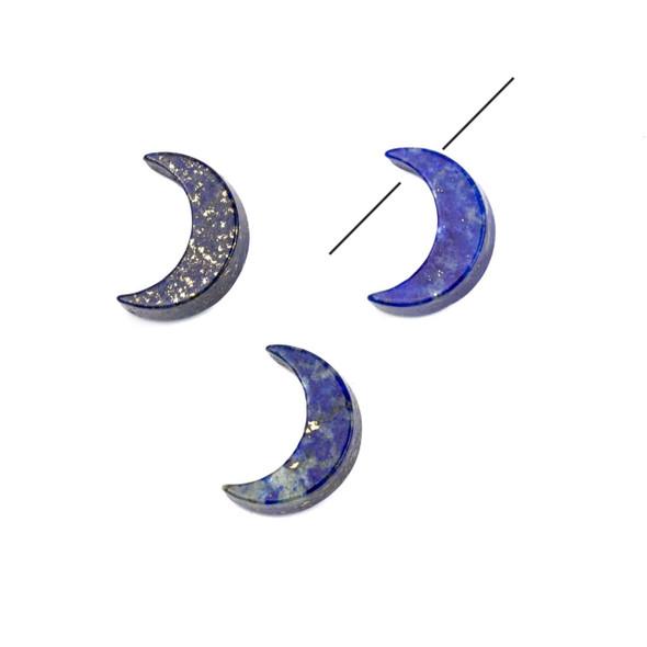 Lapis 4x14mm Tiny Moon Pendant - 1 per bag