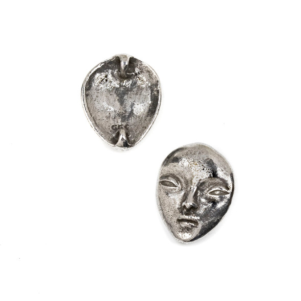 Green Girl Studios Pewter 23x29mm Goddess Face Pendant - 1 per bag