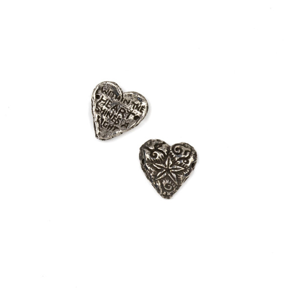 Green Girl Studios Pewter 15mm Shining Heart Focal Bead - 1 per bag