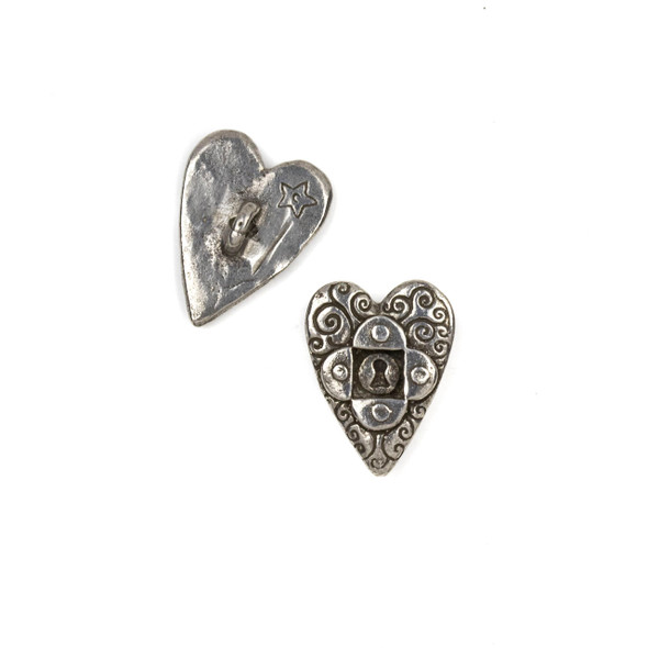 Green Girl Studios Pewter 16x22mm Heart Key Button - 1 per bag