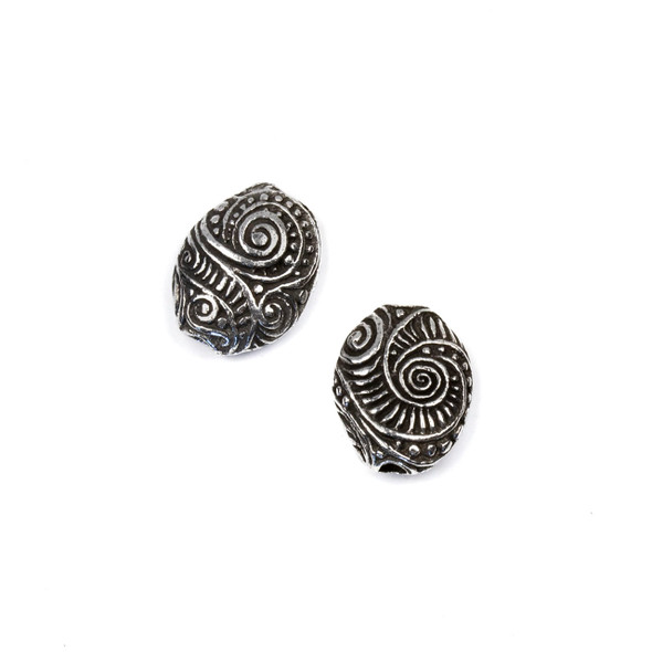 Green Girl Studios Pewter 16x20mm Swirly Pebble Focal Bead - 1 per bag