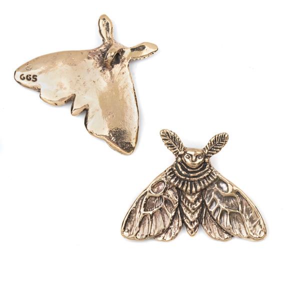 Green Girl Studios Cast Bronze 31x42mm Large Moth Fairy Pendant - 1 per bag