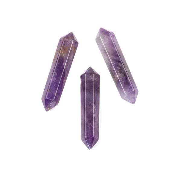 Amethyst 8x40mm Top Drilled Double Terminated Petite Hexagonal Point Pendant - 1 per bag