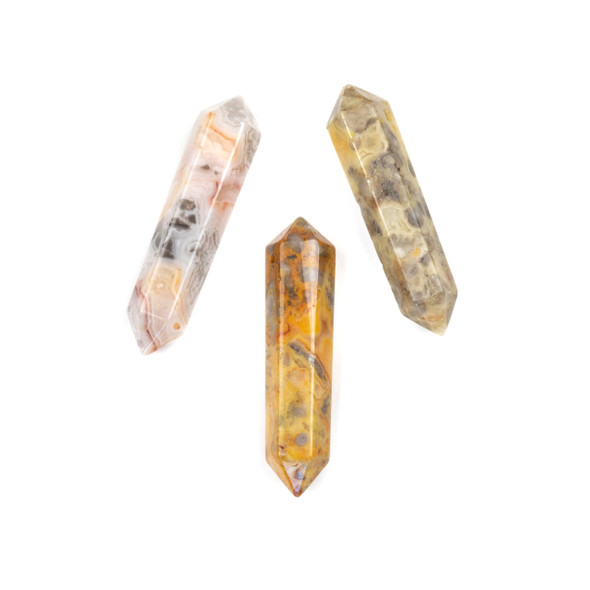 Crazy Lace Agate 8x40mm Top Drilled Double Terminated Hexagonal Point Pendant - 1 per bag