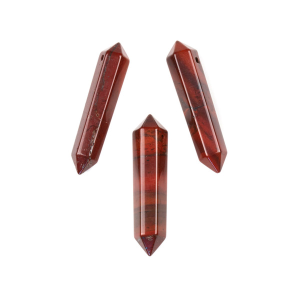 Rainbow Jasper 8x40mm Top Drilled Double Terminated Petite Hexagonal Point Pendant - 1 per bag