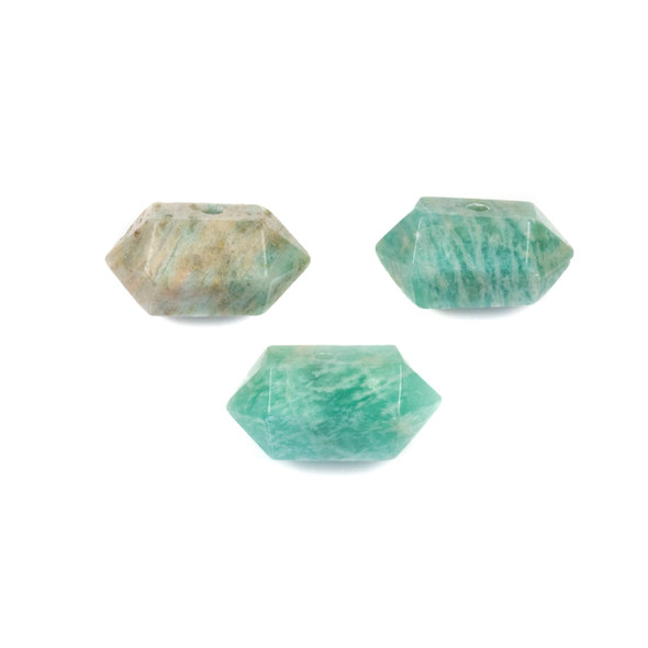 Amazonite 12x23-26mm Center Drilled Hexagonal Point Pendant - 1 per bag