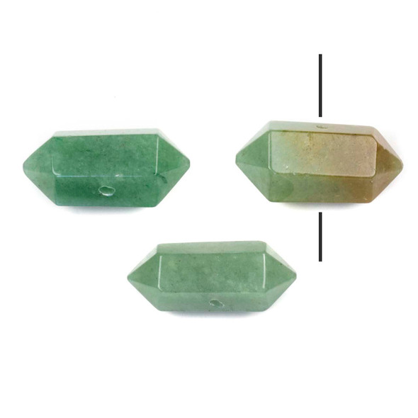 Green Aventurine 12x27-30mm Center Drilled Hexagonal Point Pendant - 1 per bag