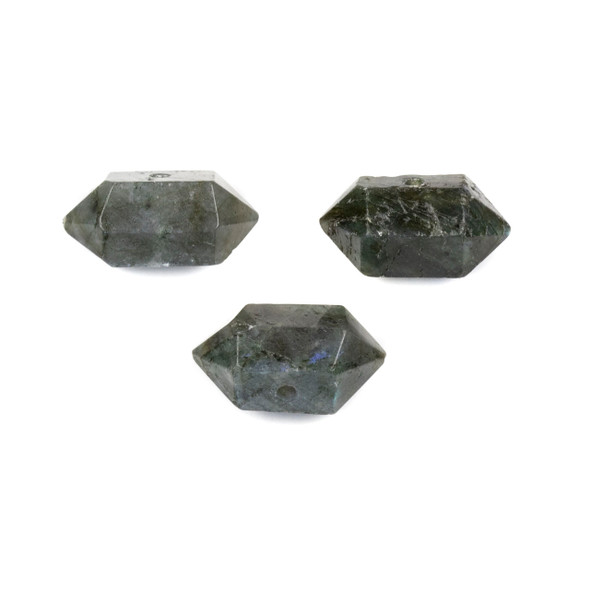 Labradorite 12x23-26mm Center Drilled Hexagonal Point Pendant - 1 per bag