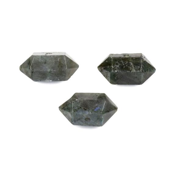 Labradorite 12x23-26mm Center Drilled Hexagonal Point Pendant - 1 per bag