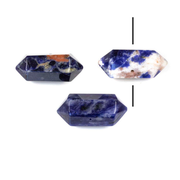 Sodalite 12x25-28mm Center Drilled Hexagonal Point Pendant - 1 per bag