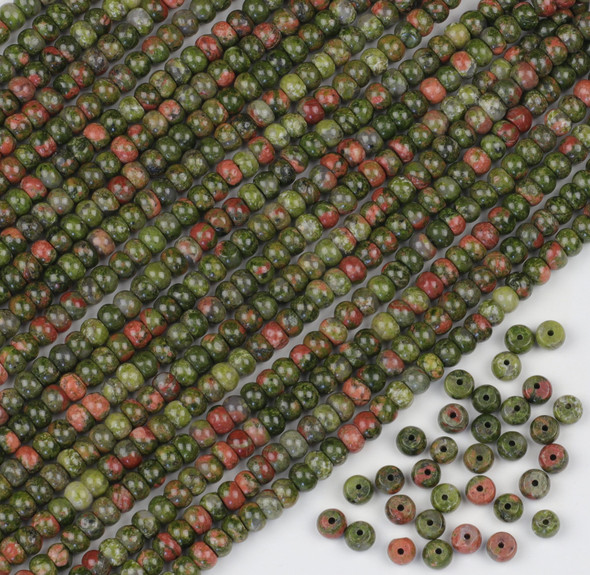 Unakite 4x6mm Rondelle Beads - approx. 8 inch strand, Set A