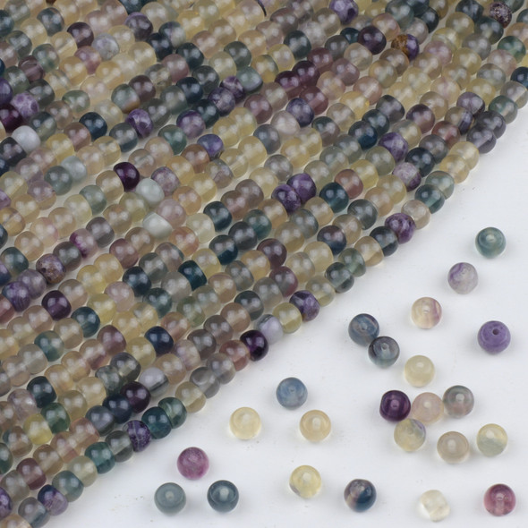 Fluorite 4x6mm Rondelle Beads - approx. 8 inch strand, Set A