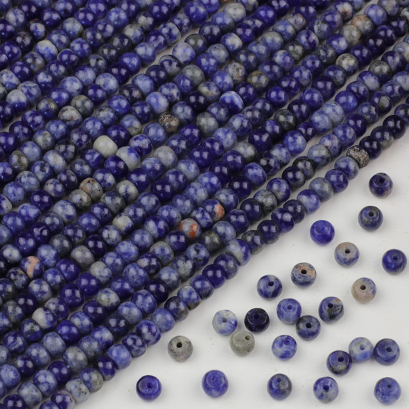 Sodalite 4x6mm Rondelle Beads - approx. 8 inch strand, Set A