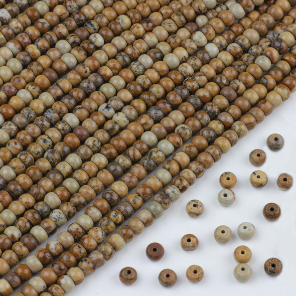 Picture Jasper 4x6mm Rondelle Beads - approx. 8 inch strand, Set A