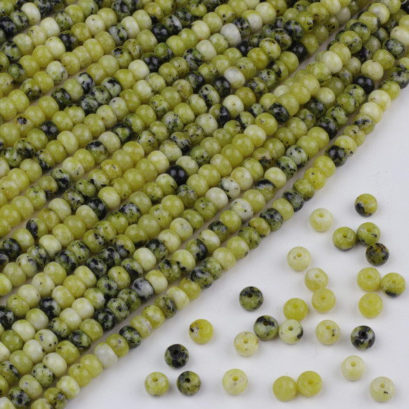 Yellow Turquoise 4x6mm Rondelle Beads - approx. 8 inch strand, Set A