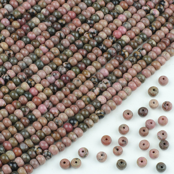 Rhodonite 4x6mm Rondelle Beads - approx. 8 inch strand, Set A