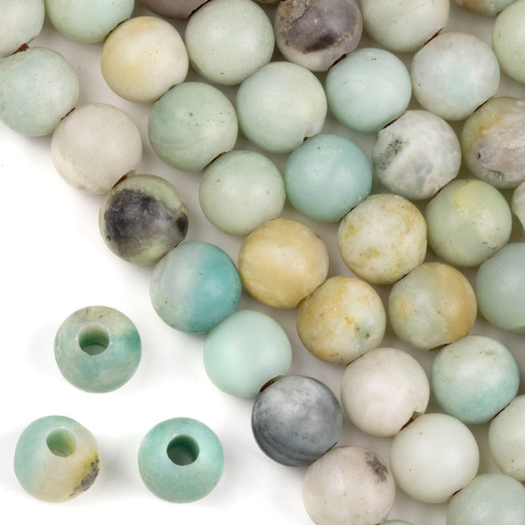 Matte Large Hole Amazonite Grade B 12mm Round with 4mm Drilled Hole - approx. 8 inch strand