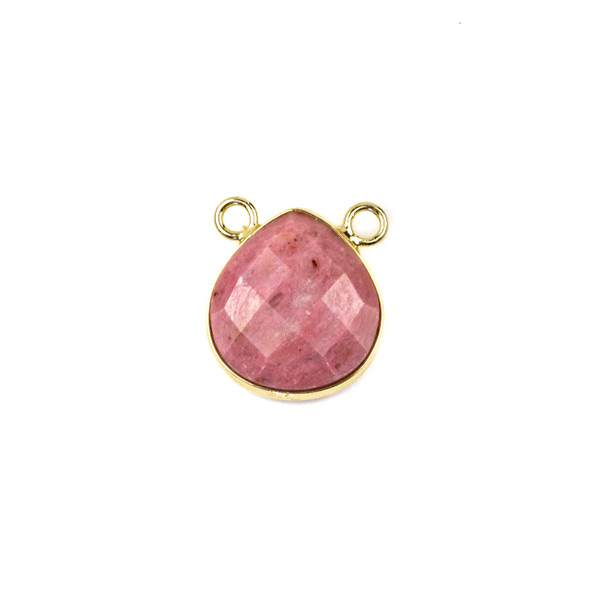 Rhodonite 15x16mm Faceted Teardrop Pendant Drop with with a Brass Plated Base Metal Bezel - 1 per bag