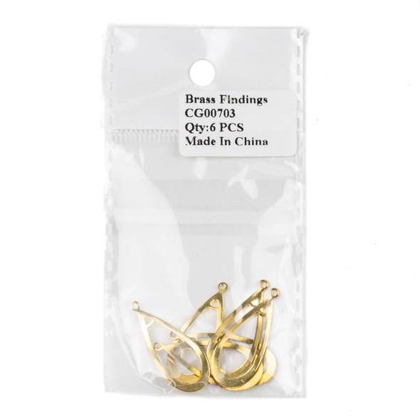 Raw Brass 12x30mm Wavy Tapered Teardrop Component - 6 per bag - CG00703c