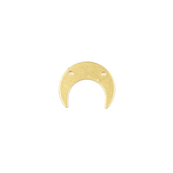 Coated Brass 13x16mm Horizontal Crescent Moon Drop Components with 2 holes - 6 per bag - CG00075c