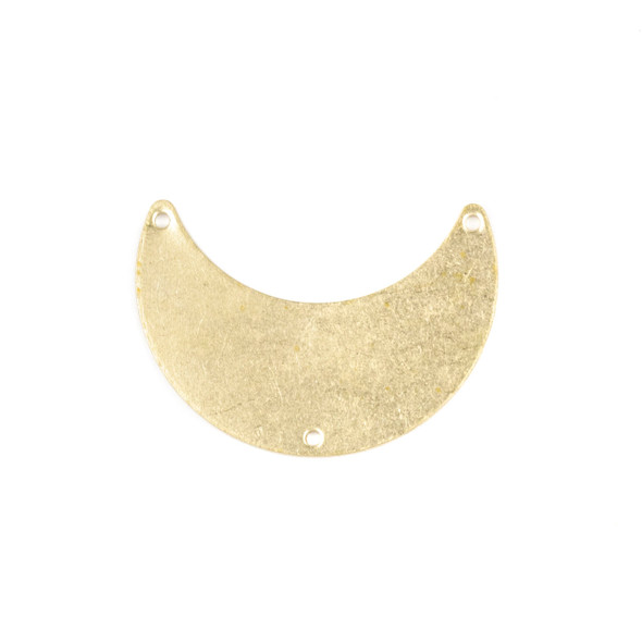 Raw Brass 12x20x28mm Waxing Crescent Moon Link Components with 3 holes - 6 per bag - CG01631