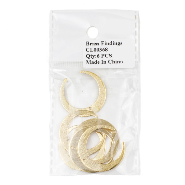 Raw Brass 27x28mm Textured Horizontal Crescent Moon Drop Components with 1 hole - 6 per bag - CL00368