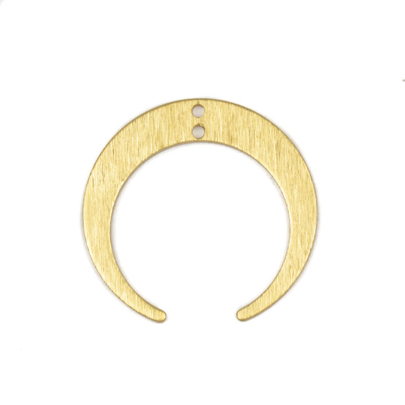 Coated Brass 27x28mm Textured Horizontal Crescent Moon Drop Components with 1 hole - 6 per bag - CL00368c