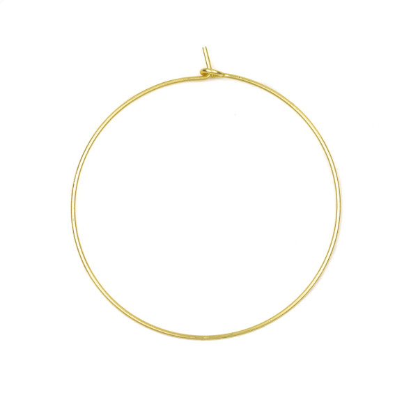 Coated Brass 40mm Hoop Ear Wires - 6 per bag - CTBXJ-029c