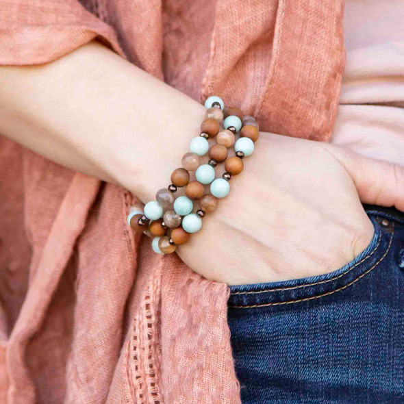 Peach Moonstone and Amazonite Elastic Stacking Bracelet Kit - bkit-024