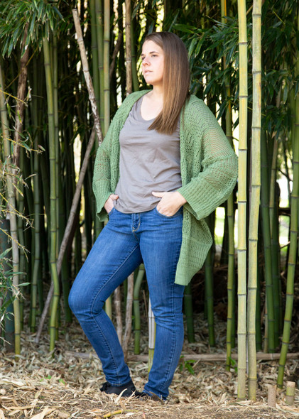 Green Knit Netted Cardigan Sweater