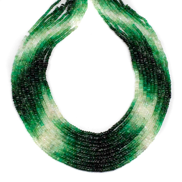 Ombre Emerald Graduated 1.5x2-3x4.5mm Irregular Faceted Tire/Rondelle Beads - 14 inch strand