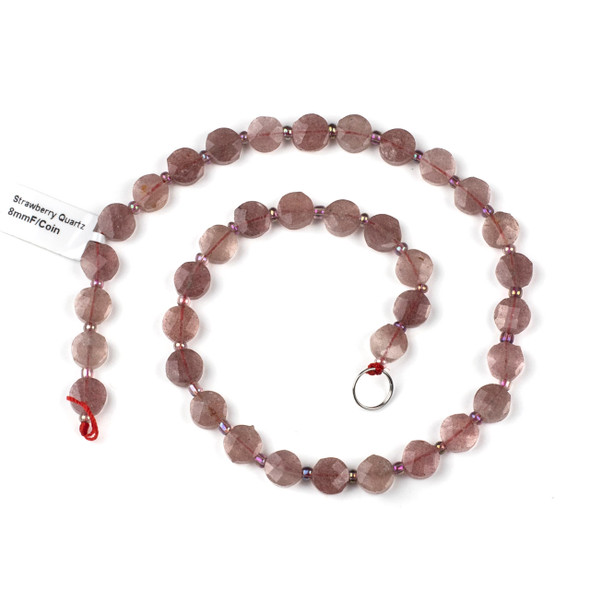 Strawberry Quartz 8mm Faceted Coin Beads - 3.5-4mm thick, 16 inch strand