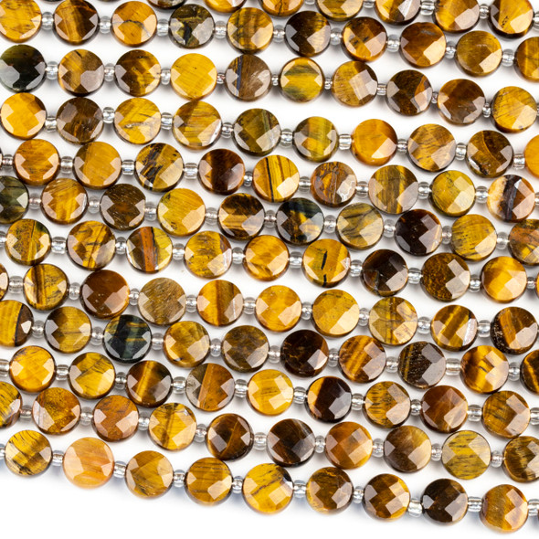 Yellow Tigereye 8mm Faceted Coin Beads - 4-5mm thick, 16 inch strand