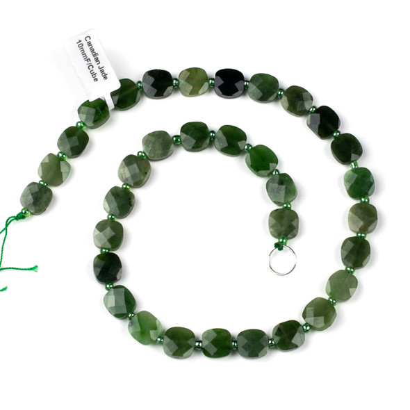 Canadian Jade 10mm Faceted Rounded Cube/Square Beads - 4-4.5mm thick, 16 inch strand