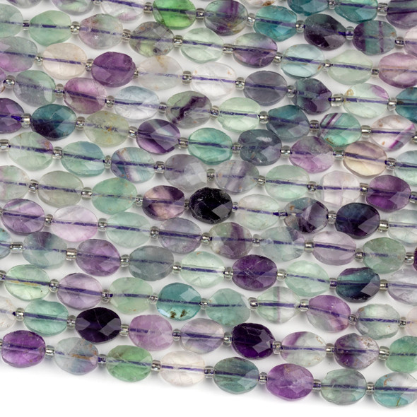 Rainbow Fluorite 8x10-11mm Faceted Oval Beads - 4mm thick, 16 inch strand